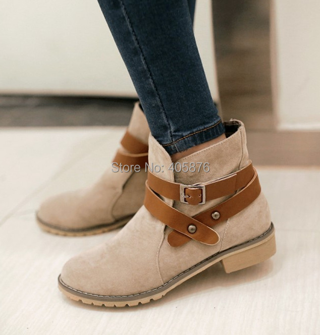 2014 new autumn buckle BIG SIZE women ankle boots Black Brown Beige color square heel flats sapatos femininos suede bota shoes(China (Mainland))