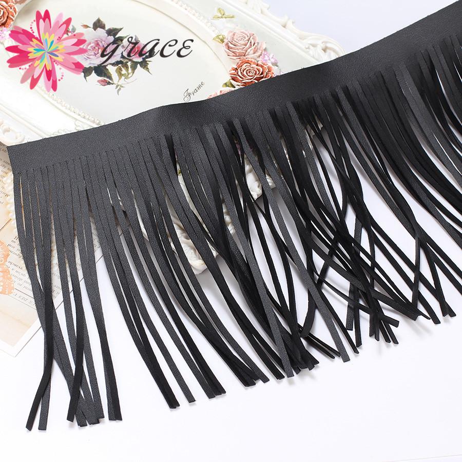 Flash sale 2015 3m/Lot Black leather tassel fringe lace trim skirt clothing accessories DIY leather Latin dance craft<br><br>Aliexpress