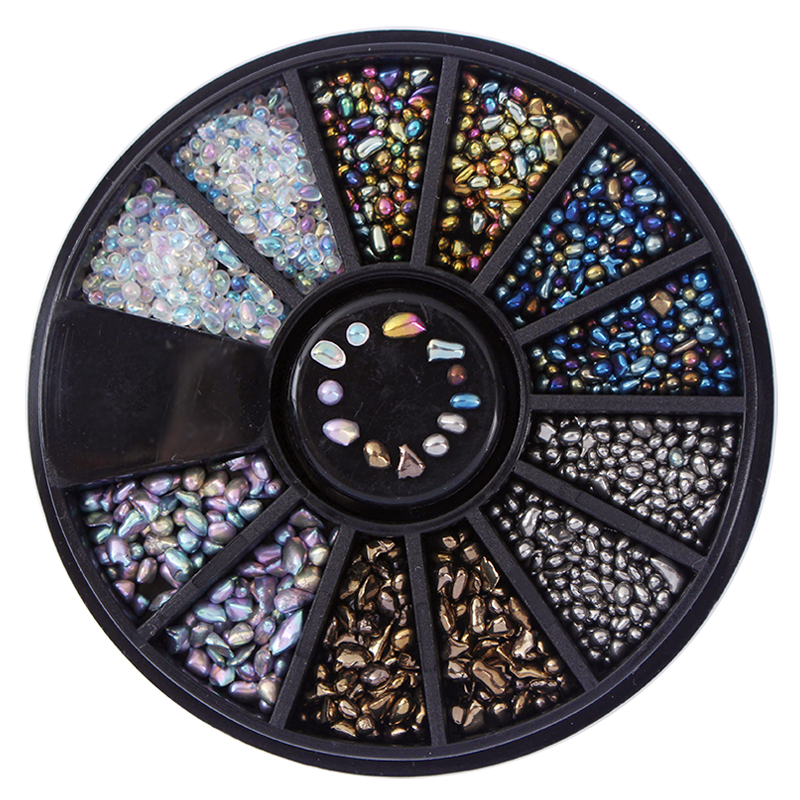 Mixed Color Chameleon Nail Beads Rhinestones Small Irregular 3D Nail Art Decorations in Wheel Manicure DIY Nail Tip Accessories