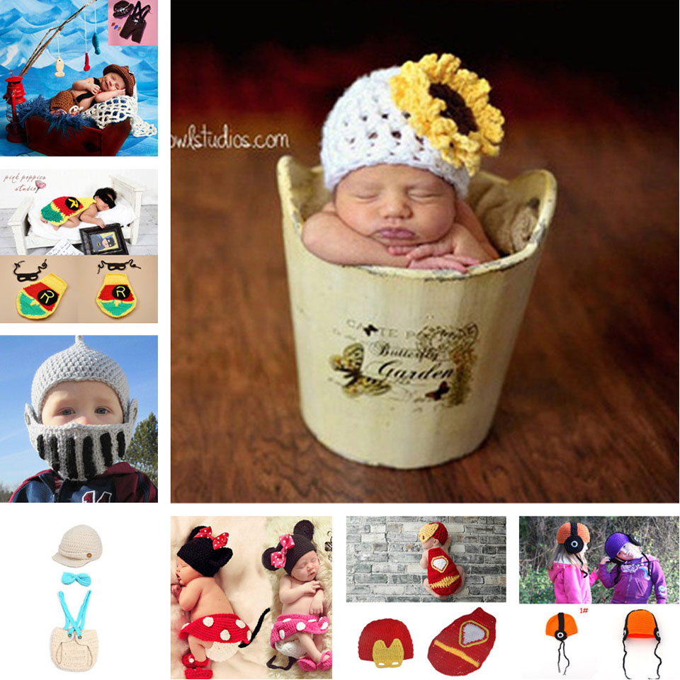 Sunflower Baby Hat Infant Baby Knitted Cap Handmade Newborn Baby Photography props Infant Boy Girl Cartoon Costume MZS-15005(China (Mainland))
