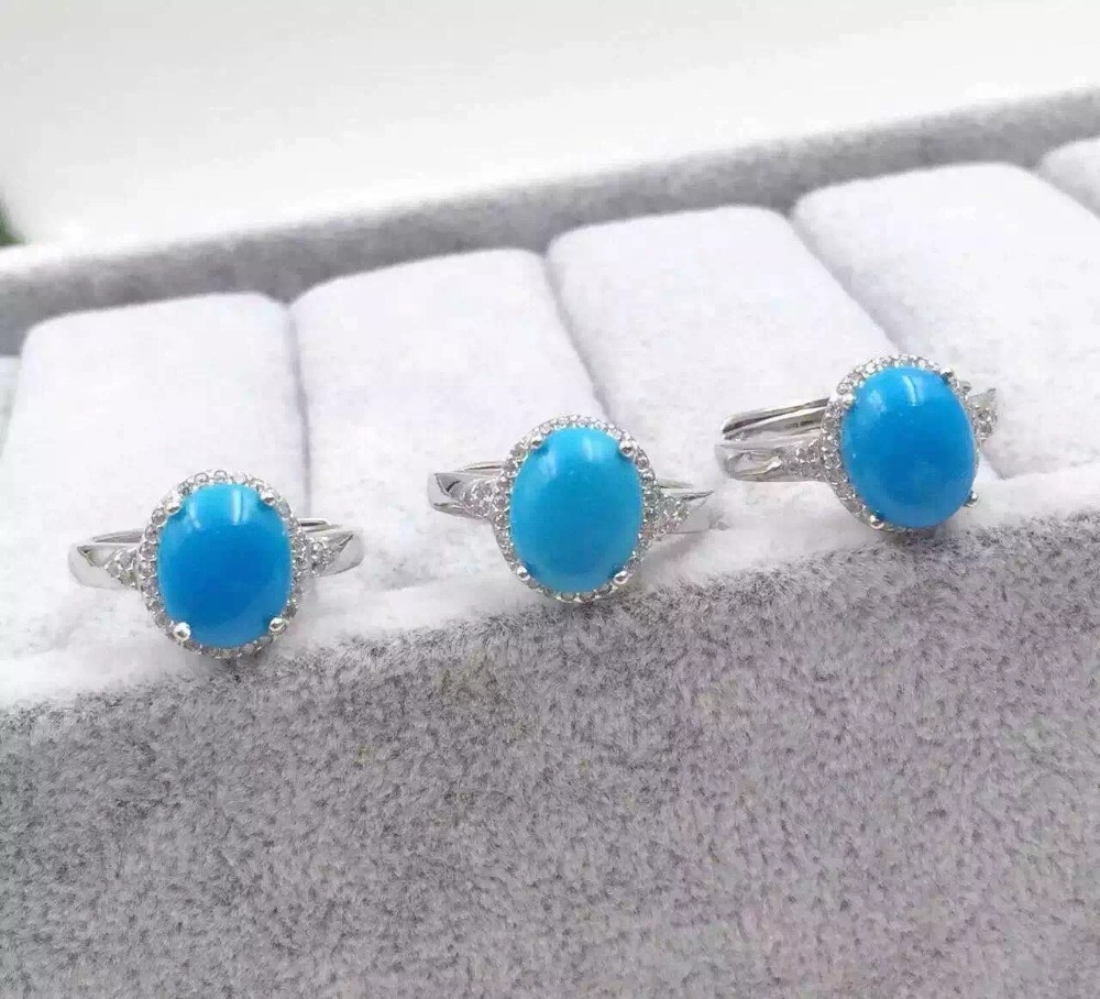 Luxury fashion Round natural turquoise stone rings with 925 sterling silver natural gem stone ring for women party fine jewelry