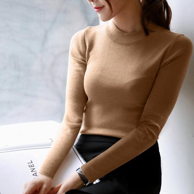 Женщины свитера и пуловеры 2016 новинка европа тонкий с длинным рукавом вязаные пуловеры ...