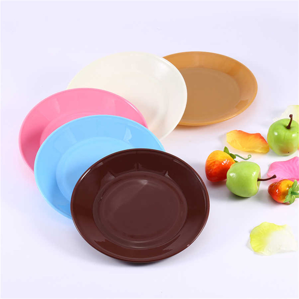 1Pcs Colorful Tableware Saucer Flat Plate Snack Seeds Food-grade Plastic Plates Snack Dish Kitchen Supplies Dishes Plates(China (Mainland))