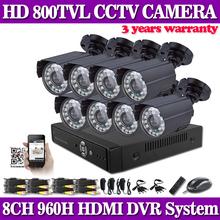 Home 8CH CCTV Security System 8 channel 960H DVR 800TVL outdoor bullet Camera kit Color Video Surveillance System for IP cameras