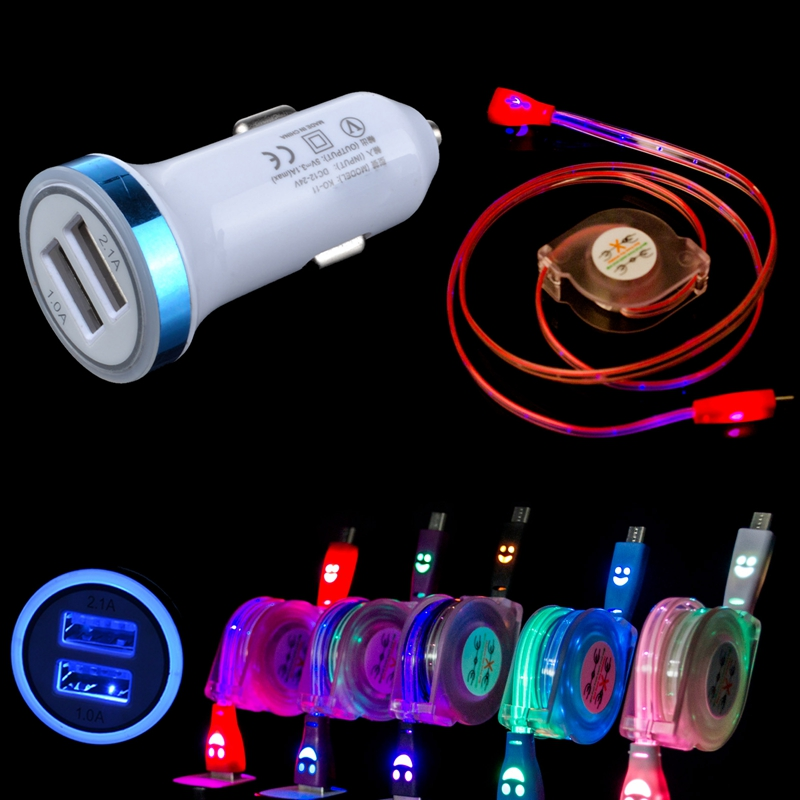 Dual Port USB Car Charger + Retractable LED Light Micro USB Cable Data Sync Charging Cord For LG HTC Samsung Sony Android Phone(China (Mainland))