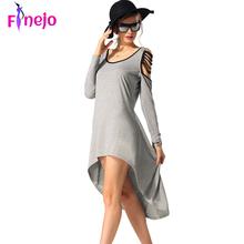 FINEJO Stylish Ladies Women Irregular Casual O-neck Long Sleeve Asymmetric Large Hem Dress(China (Mainland))