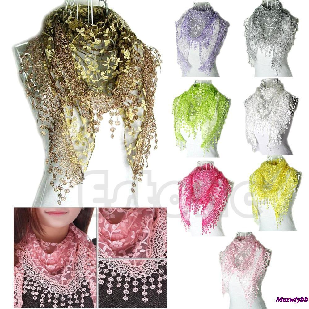 New Autumn Summer Women Embroidery Rose Lace Triangle Pendant Shawls Scarf Wraps 11Colors(China (Mainland))