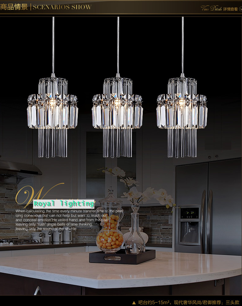 Buy dining room pendant crystal lamp 3 for Dining room 3 pendant lights