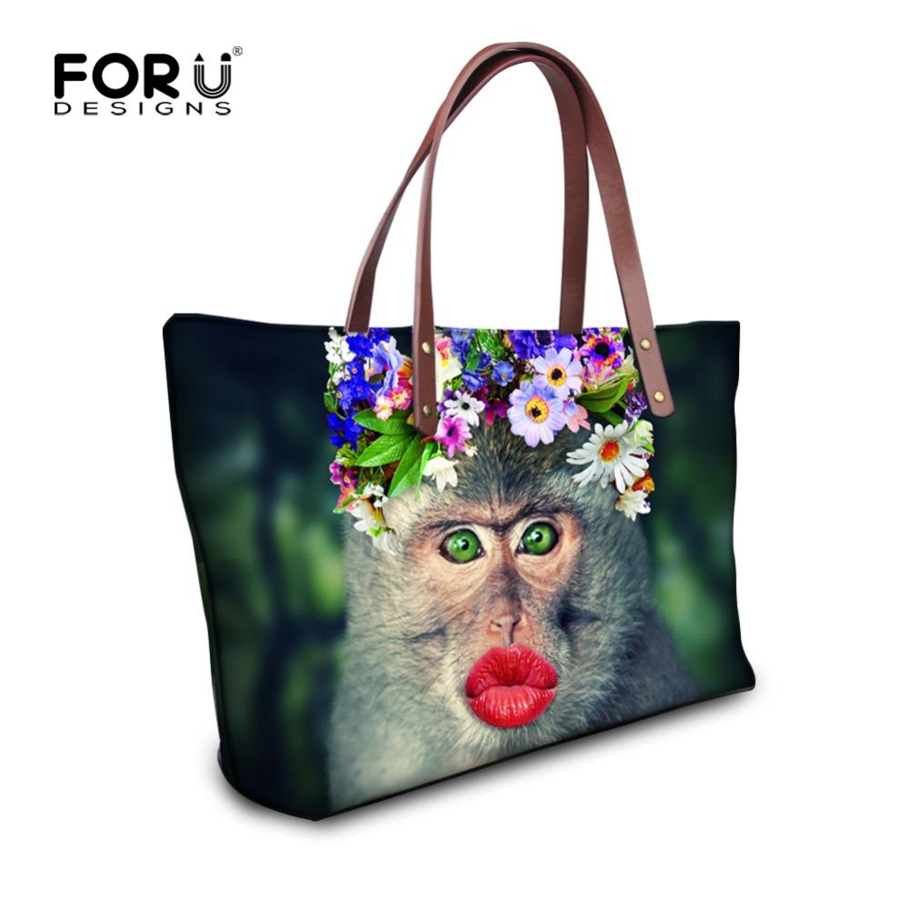 Brand Special Designer Women Shoulder Bag Wreath Monkey Ptinted Tote Handbag Female Large Capacity Shoulder Bag Waterproof