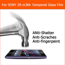 0.3mm 2.5D Rounded Edges 9H Premium Anti-shatter Tempered Glass For Xperia ZR M36H C5502 C5503 Screen Protector Film