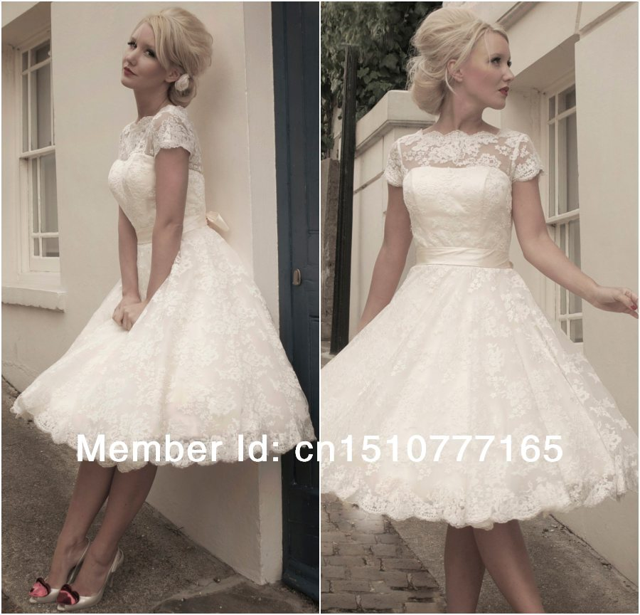 Jacqueline vintage lace short wedding dress for Wedding dress for a short bride