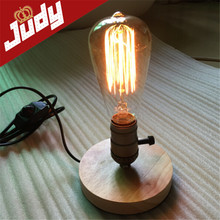 EU plug vintage retro table lamp 12cm base 90-240V E26/27 loft light with dimmer wood freeshipping(China (Mainland))