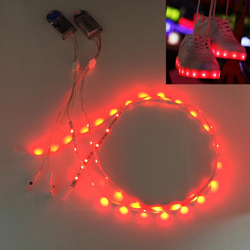 Girlfriend Boyfriend DIY Gift Flexible USB rechargeable DC 3V 2X1M RGB SMD3528 Waterproof strip RGB charging shoe led<br><br>Aliexpress