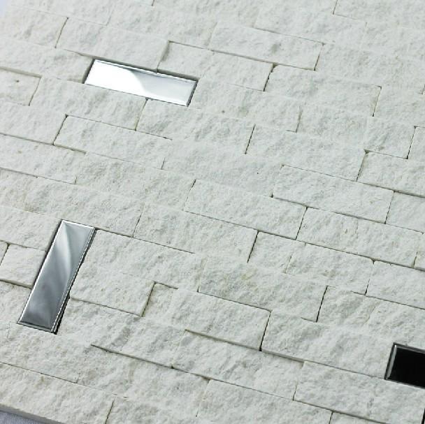 White Marble Mosaic Tile 3D Kitchen Backsplash Stainless Steel Tiles