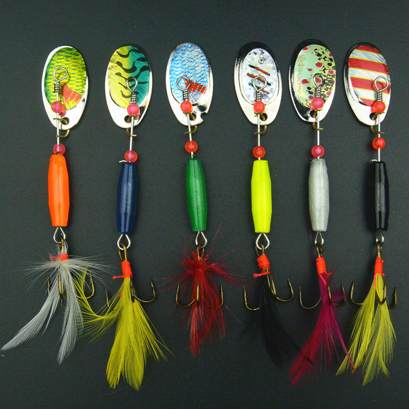6PCS/set Fishing Lure spinner bait Metal lures pesca tackle jerk artificial spoon spinnerbait - Anmuka Tackle store