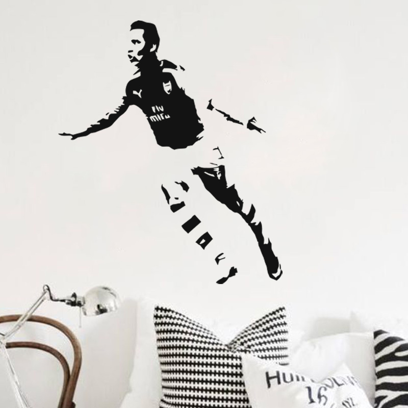 Art design cheap vinyl home decoration Alexis Sanchez wall sticker removable house decor football player wall decals for bedroom(China (Mainland))