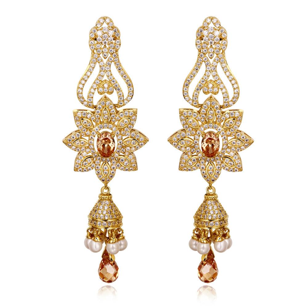18k gold Long drop earrings jewelry for women Bridal Luxury drop earrings bridal earrings Big crystal blue drop earrings<br><br>Aliexpress