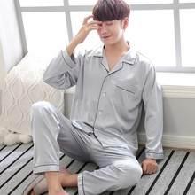 Черная Мужская Ночная рубашка, брюки, пижамные комплекты с длинными рукавами, весенне-осенняя шелковая ночная рубашка, халат, одежда L-XXXL(China)