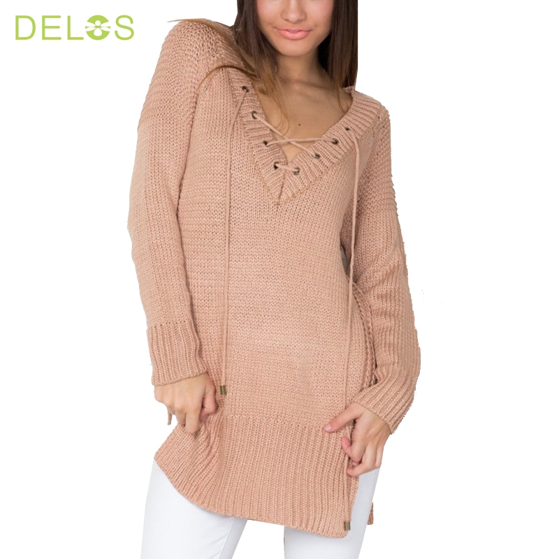 DELOS 2016 European Style Sexy V neck Autumn Knitted Tops Women Pullover Lace up Elastic Cross OL Sweater Slim Long Sleeve Tops(China (Mainland))
