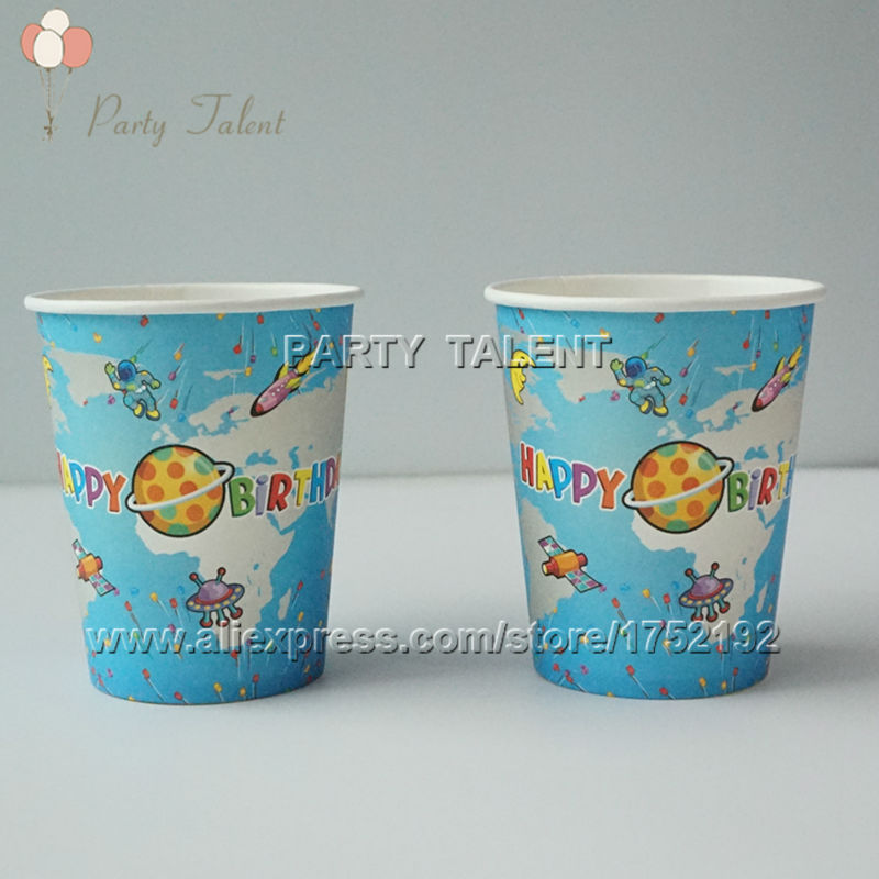 Party supplies 10PCS space and science theme party decoration disposable tableware paper cup cups with food film(China (Mainland))