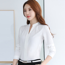Buy 2017 Spring Women Chiffon Shirt New Casual White Women Blouse Ladies Solid Elegant V-neck Blouses Long Sleeve OL Office Shirt for $10.46 in AliExpress store
