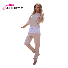 Women Solid Peplum Tracksuit Suit Three Quarter Sleeve O-Neck Lace Crochet  Patchwork Autumn Casual Suit(China (Mainland))
