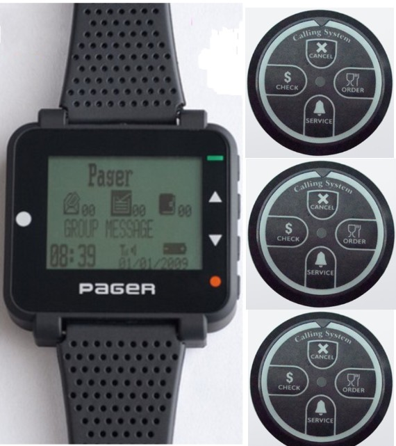 High quality Pocsag paging sytem,1pc Alphanumeric watch pager,3pcs LED indicator Pocsag transmitter, 4 keys wireless call button
