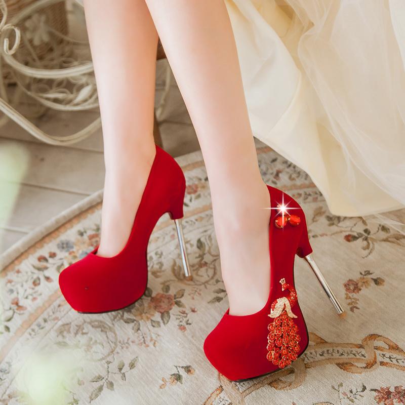 2016 Sexy Thin High Heels Women's Wedding Party Shoes Popular Rhinestone Slip On Hidden Platform Pumps Large Size 34-42