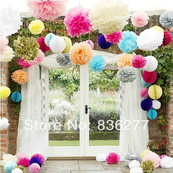 Free Shipping 40pcs/Lot (6inches) White Wedding Tissue Paper Pom Poms Chinese Paper Flower Weding Decoration(China (Mainland))