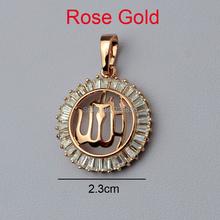 Rose/Yellow/Silver Allah Pendants Charm Women,High-quality Zircon 24K GP Fill,Arabic Islamic Jewelry CZ,Muslim Men Gift,Eid Item(China (Mainland))