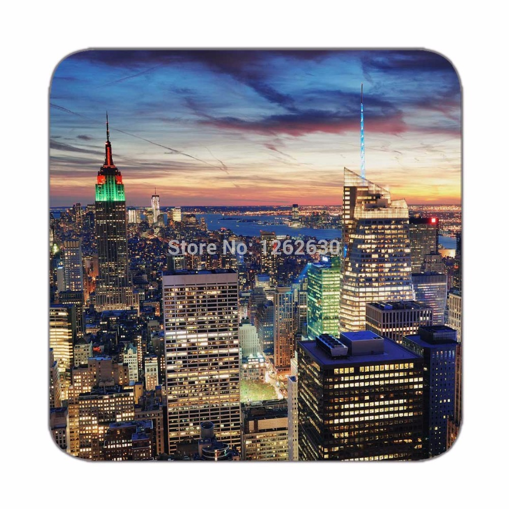 New York City Sunset View Pattern Print Print Custom Mat Drink Tea Cup Cork Coasters Pack of 4(China (Mainland))