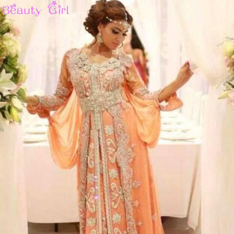Luxury Dress Elegant Abaya Dubai Kaftans Caftan Beaded  O-Neck A-Line Party Dress Long Sleeve Arabic Evening Dress(China (Mainland))