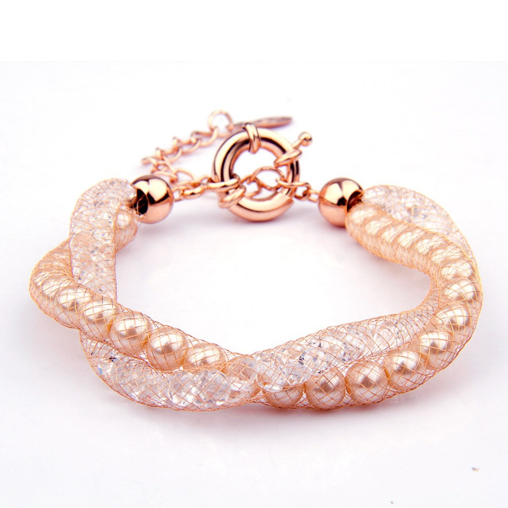 fashion 18k Rose Gold Bracelets Bangles lady champagne gold wire Zircon Crystal female Jewelry - WOSTU JEWELRY store