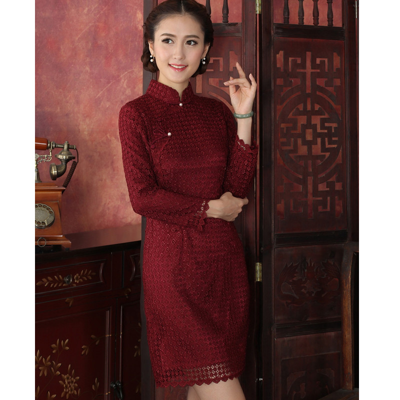 Free Shipping New Arrival Burgundy Chinese Traditional Womens Lace Mini Cheong-sam Dress S M L XL XXLОдежда и ак�е��уары<br><br><br>Aliexpress