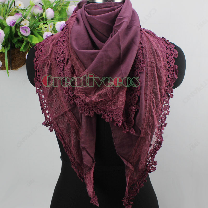 Elegant Fashion Women's Delicate Embroidery Lace Trim Solid Color Triangle Scarf Shawl Wrap(China (Mainland))