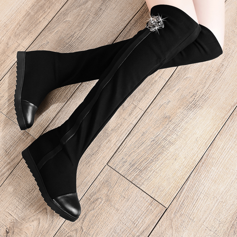 Black suede pump boots knee-length elastic stretch fabric elevator women's shoes high-heeled - Baby shows store