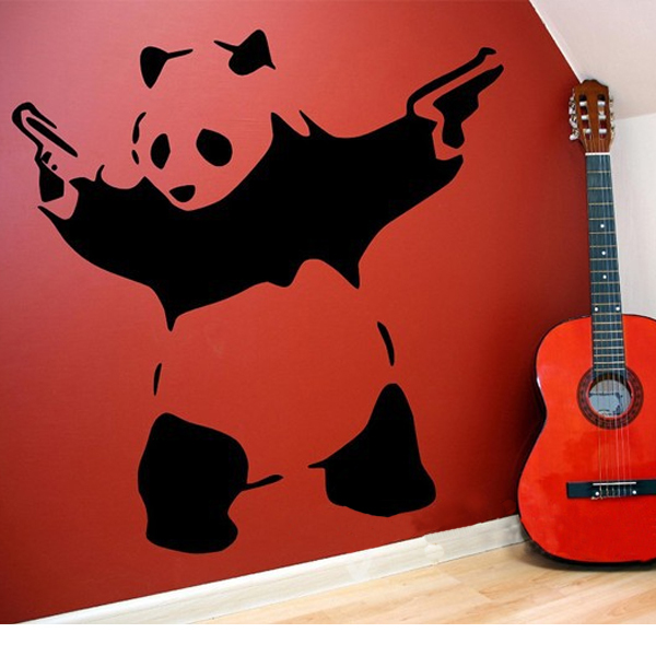 Banksy Panda Waving Hand Guns Vinyl Wall Sticker Wall Decal Poster Vintage Wall Mural Art Banksy Decal Wall Stickers Home Decor(China (Mainland))
