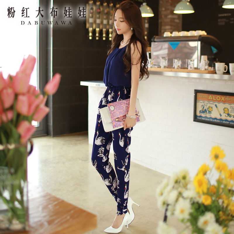 Siamese pants trousers summer pink doll 2015 new female Swan stamp sleeveless JumpsuitОдежда и ак�е��уары<br><br><br>Aliexpress