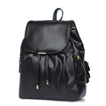 Fashion Casual Women Backpack Preppy Style Solid Color Travel Bag Drawstring Flap Soft Leather Bag Cheap