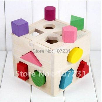 Hot NEW Wooden Knob Puzzle Cube Shape Sorter Childrens Educational Toy 14cm x 14cm x 14cm