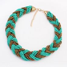 3 colors stylish elegant Bohemian national Style bead choker necklace high quality woven beaded statement jewelry women 2014 M14(China (Mainland))