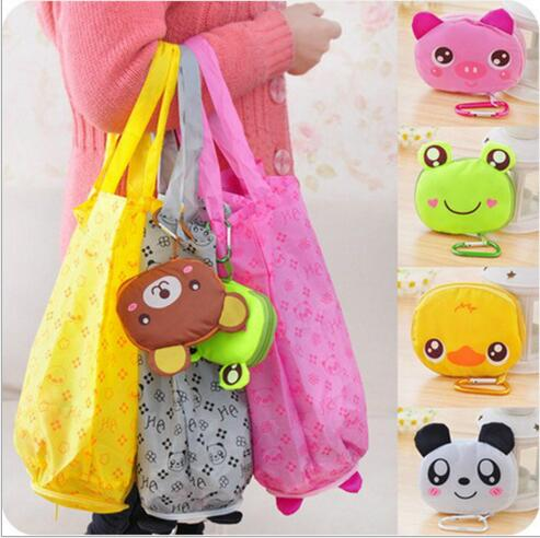 2017 Hot New Reusable Cute Animal Cartoon PortableLovely Folding Eco Shopping Waterproof Travel Bag Pouch Tote Handbag