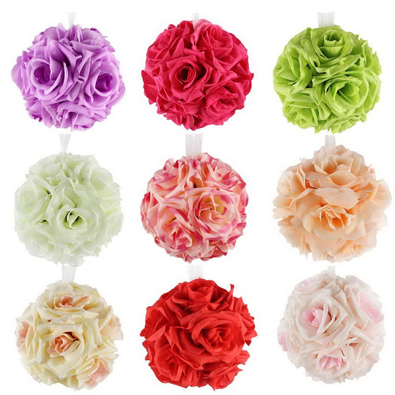 Silk Rose Artificial Flower Balls Pom Poms Thick Real Touch Flowers Pom Poms For Wedding Decoration Party Home Decorative 1pcs(China (Mainland))