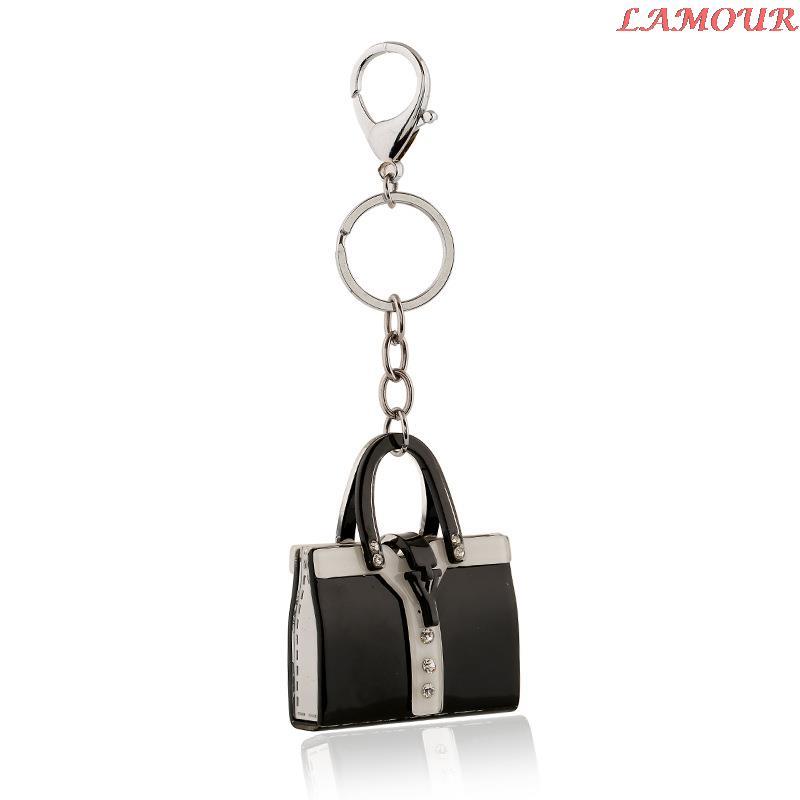 Handbag charms key chains key rings Black created diamond key pendant fashion bag hot sale key chain llaveros(China (Mainland))