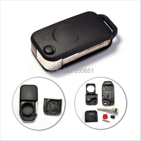 Replacement Remote Key Shell (Infra Red)Keyless Entry Case Fob 1 Button Mercedes Benz C E S HU64 Uncut Blade - Car Electronics Center store