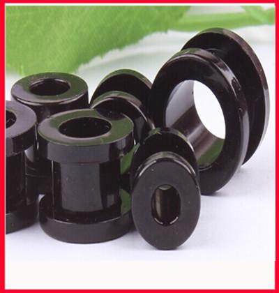 Uv flesh tunnel wholesale free shipping 800pcs mix 8size acrylic screw plug black gauge ear tunnel body jewelry