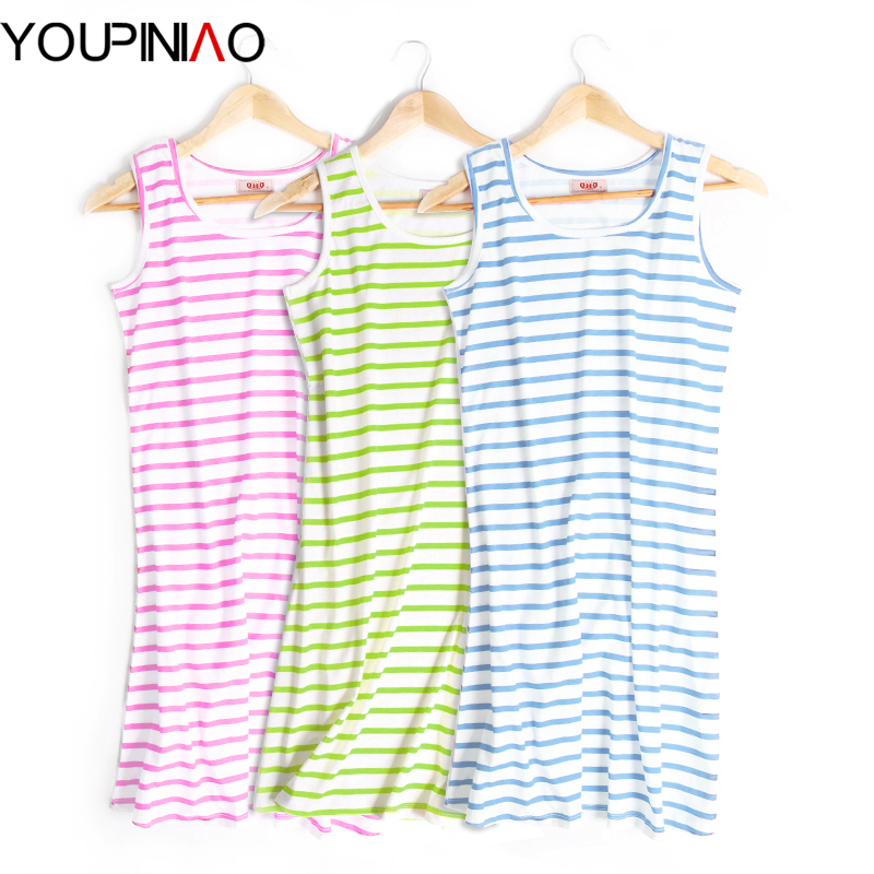 Cute Nightgown Summer Women Nightgown Sleeveless Striped Cotton Sleepwear Sleepshirts Night Gown Plus Size(China (Mainland))