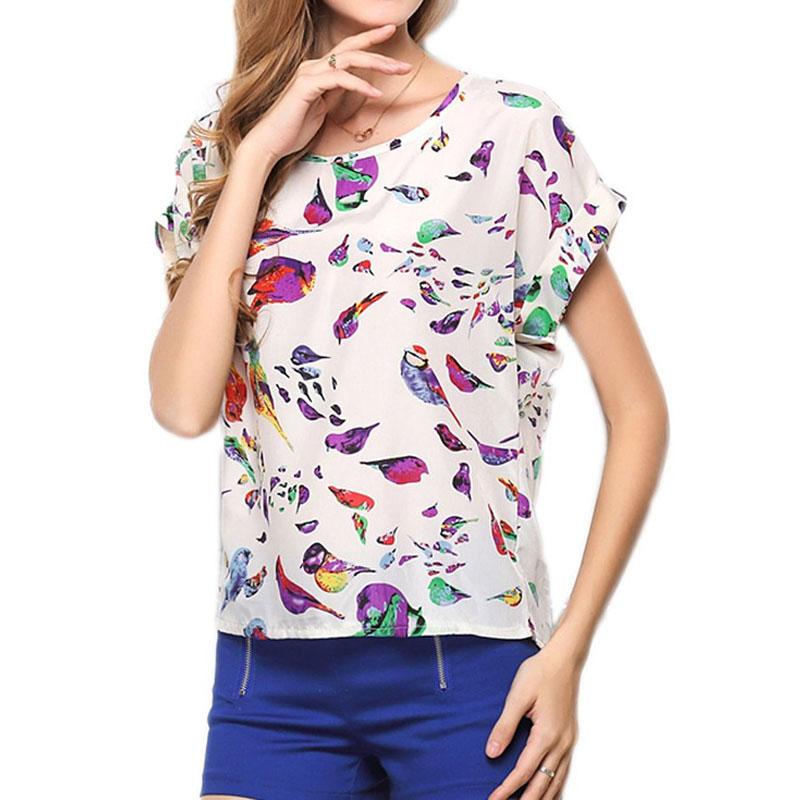 Chiffon Shirt Ladies Tops Tee Short Shirt Women Clothing Camisa Feminina Women Blouses Summer Tops Shirt Blouse Bird Design(China (Mainland))
