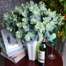3 bouquet/lot artificial eucalyptus leaf  Green plant branches Flower arranging accessories money leaves(China (Mainland))