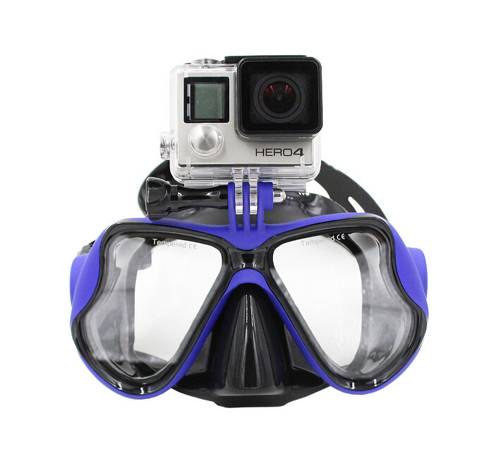 New arrivals gopro models scuba diving mask black silicone diving mask tempered glass lens snorkel mask promotion cheap price(China (Mainland))
